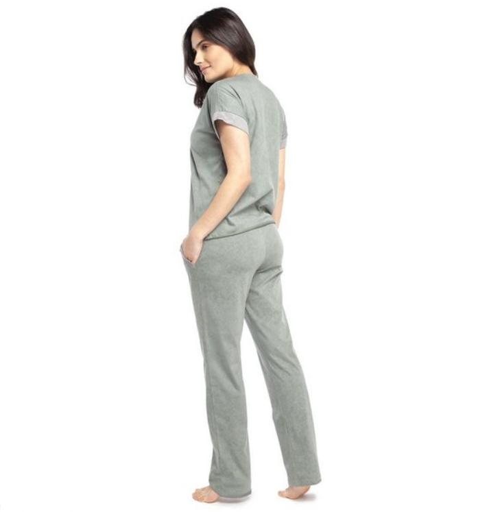 Pijama Feminino Longo Manga Curta Verde