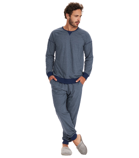 Pijama Masculino Inverno Azul Cor Com Amor