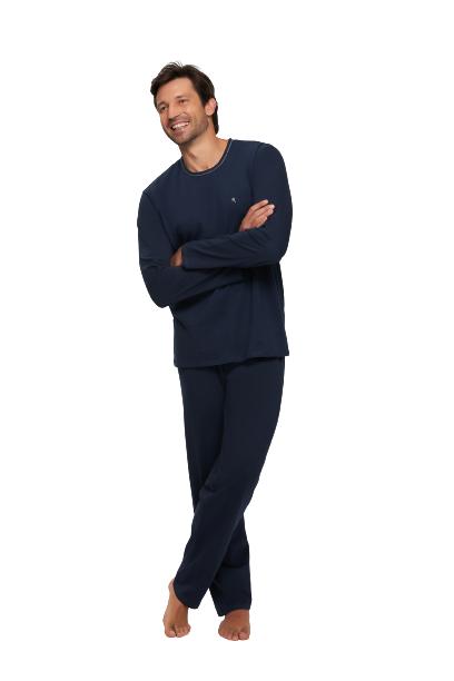 Pijama Masculino Inverno Azul Marinho Recco 100% Algodão