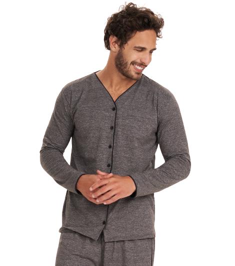 Pijama Masculino Inverno c/ Abertura de Botões Cor Com Amor
