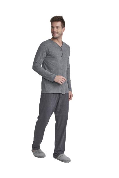 Pijama Masculino Inverno Cinza Cor Com Amor Tamanho: P