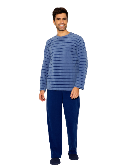 Pijama Masculino Inverno Fleece Azul Listrado AnyAny