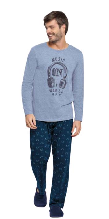 Pijama Masculino Inverno Fones Azul Cor Com Amor