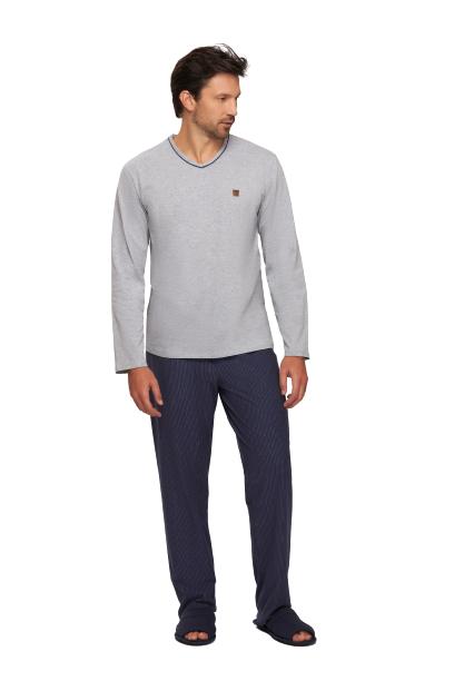 Pijama Masculino Inverno Mescla e Azul Recco