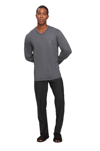 Pijama Masculino Inverno Mescla e Preto Recco