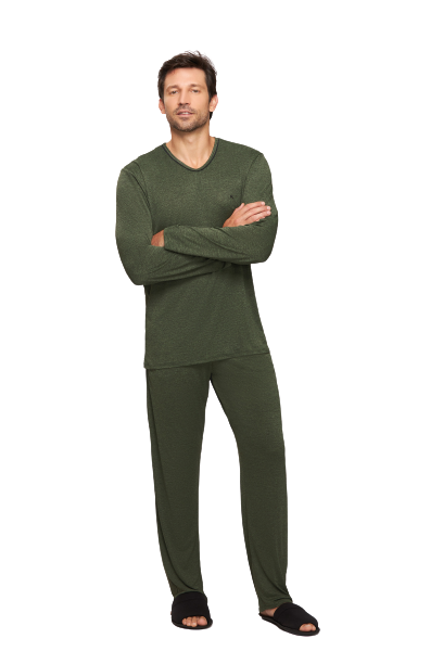 Pijama Masculino Inverno Microdry Verde Recco TAM: M