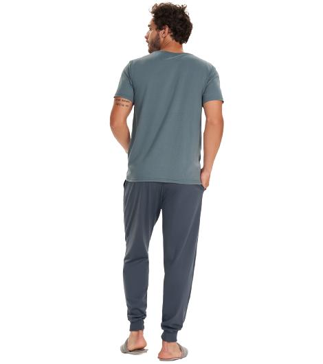 Pijama Masculino Outono Cinza Cor Com Amor