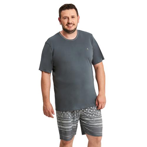Pijama Masculino Plus Size Microfibra Cinza