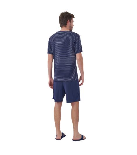 Pijama Masculino Verão Listrado Microfibra/Poliamida