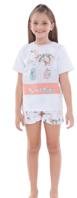 Pijama Menina Infantil Camisete 100% Algodão TAMANHO: 06