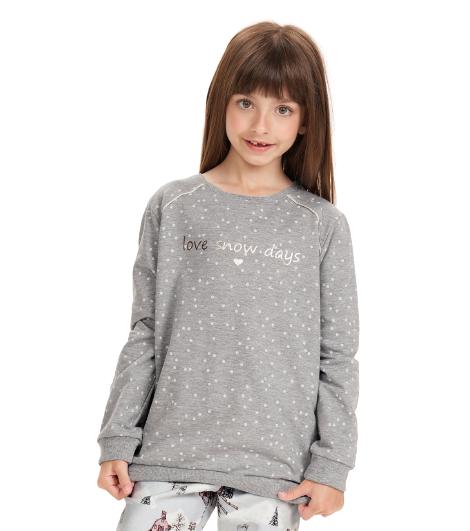 Pijama Menina Infantil Inverno c/ Legging Cor Com Amor