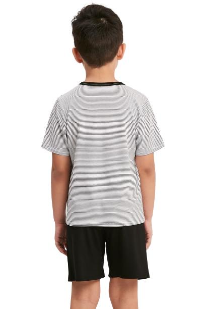 Pijama Menino Infantil Listrado Preto Recco