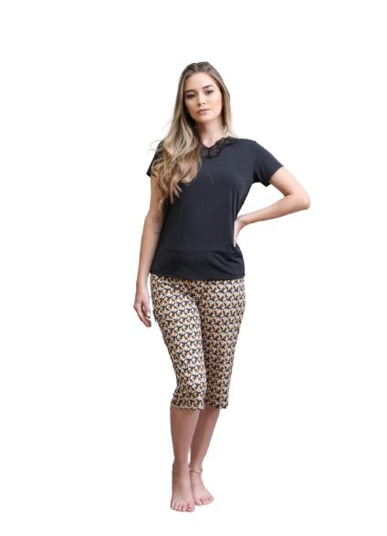 Pijama Feminino Pescador Preto e Amarelo