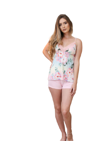 Pijama Feminino Short Doll Romântico