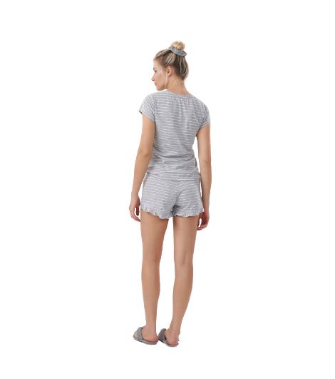 Pijama Feminino ShortDoll Cinza Listrado Cor com Amor