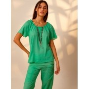 Blusa Ciganinha Linho Verde