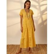 Vestido Laise Babado Amarelo