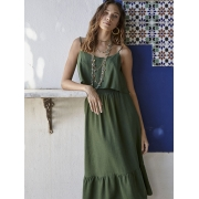 Vestido Linho Alcinha Babado Verde
