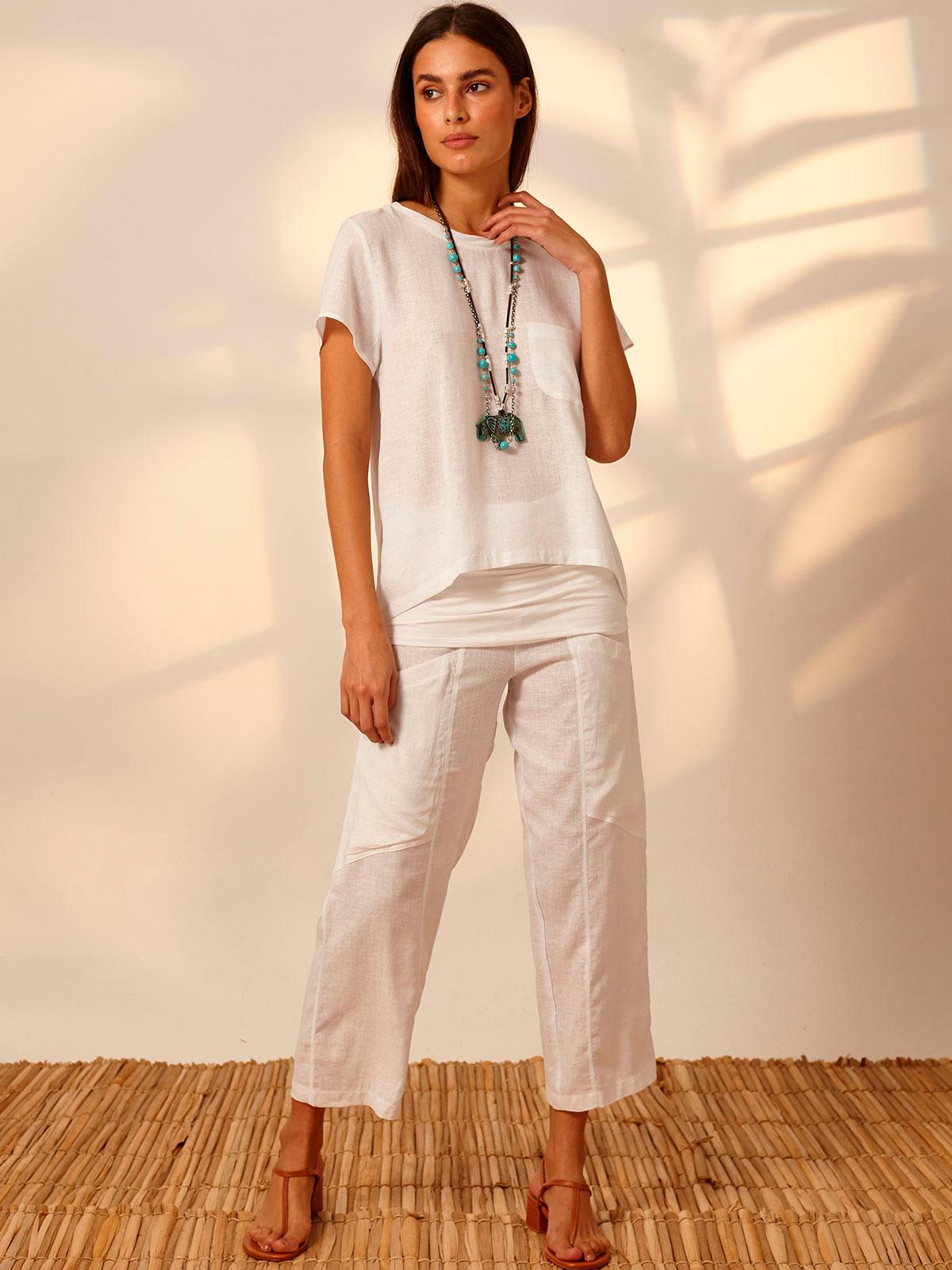 Blusa 1 Bolso Linho Branco