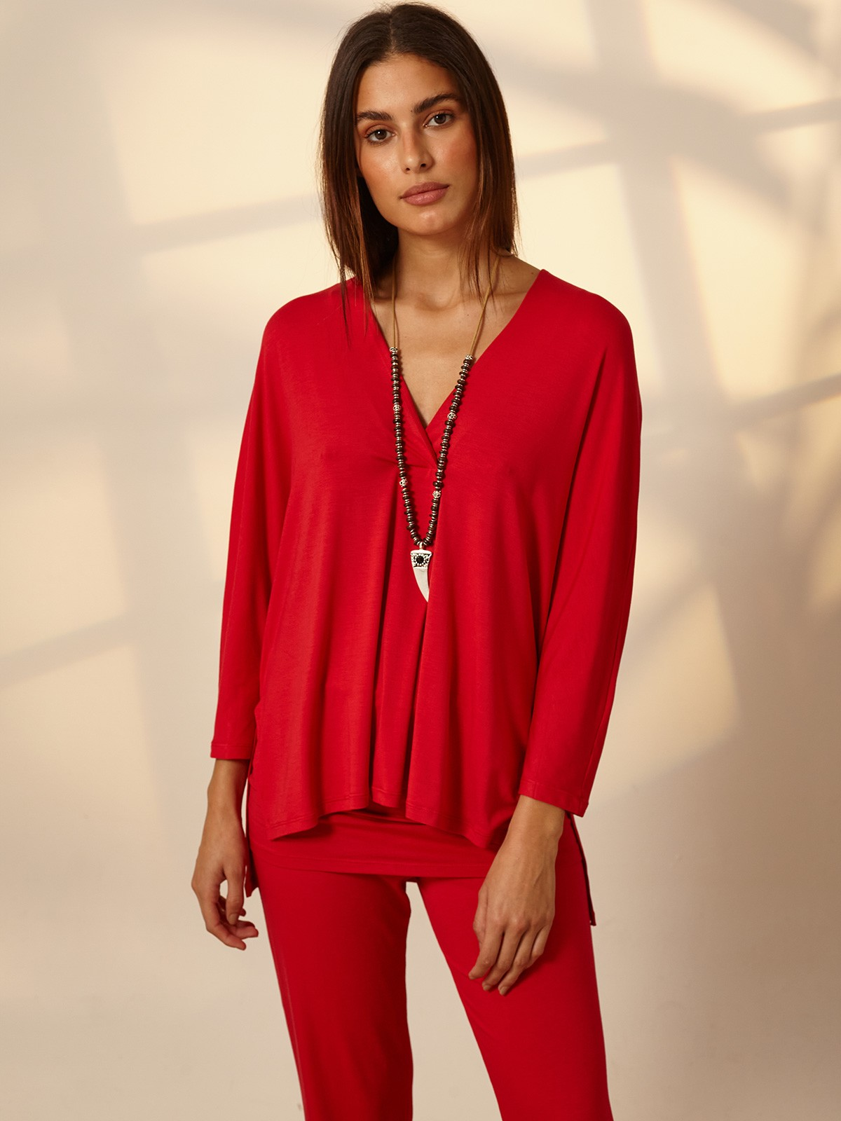 Blusa Ampla Malha Vermelho