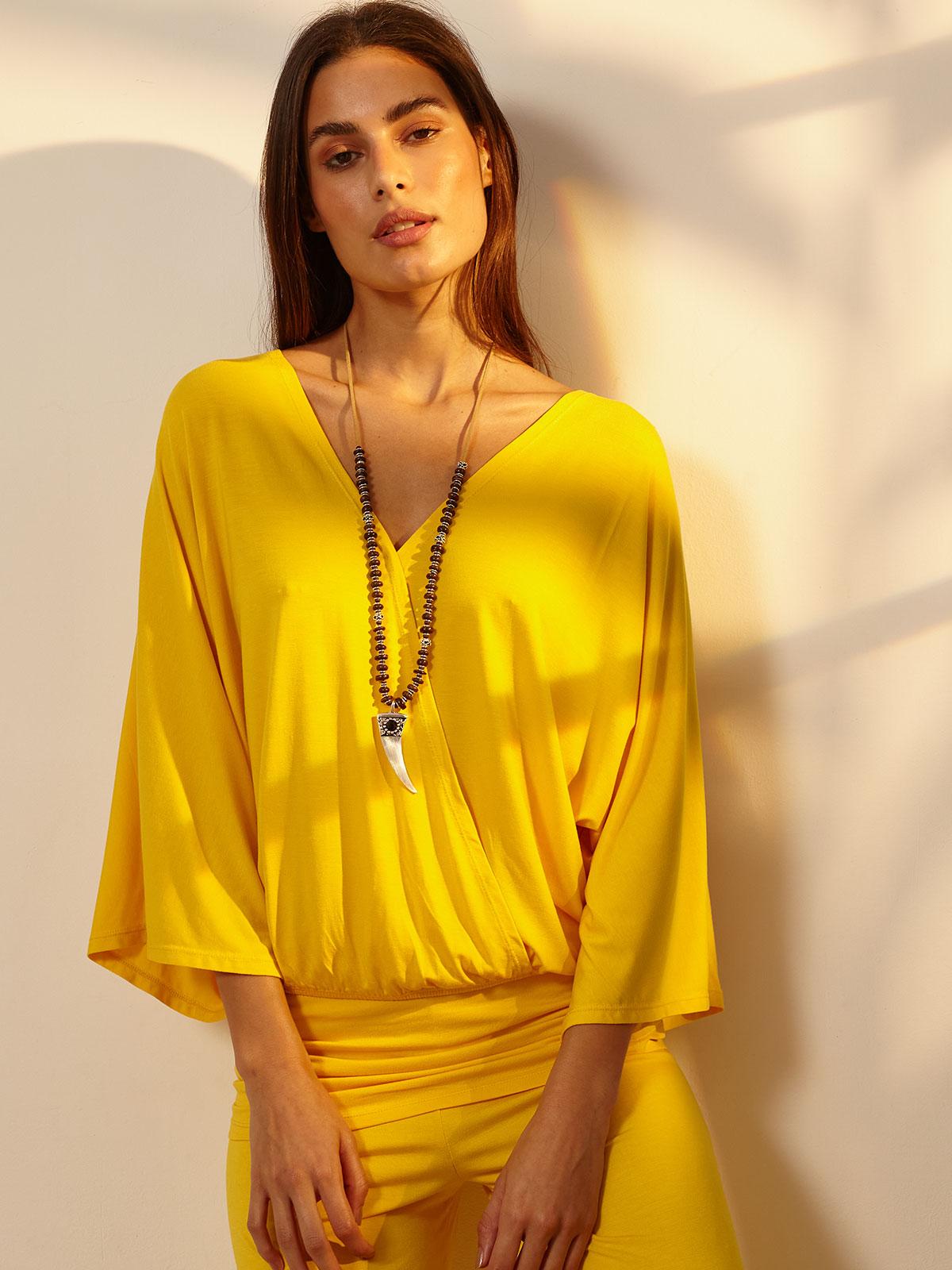 Blusa Malha Envelope Amarelo
