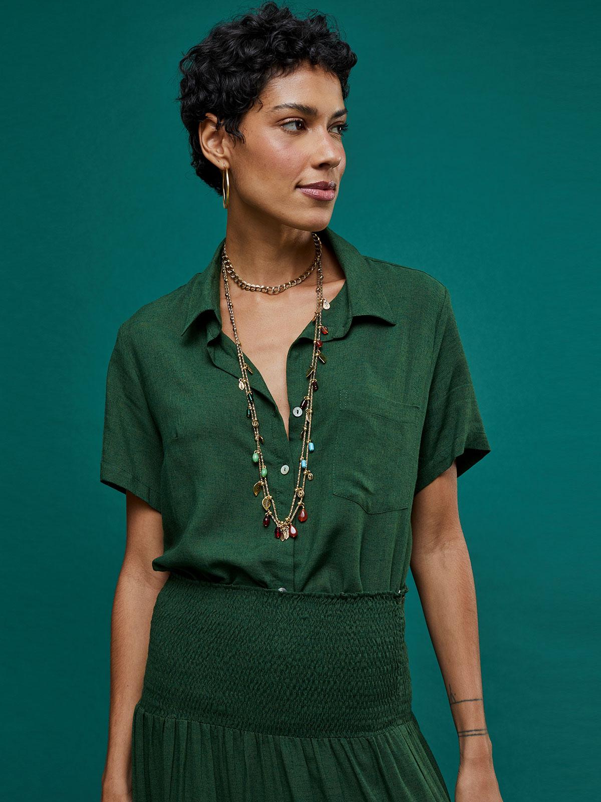 Camisa Linho 1 Bolso Manga Curta Verde