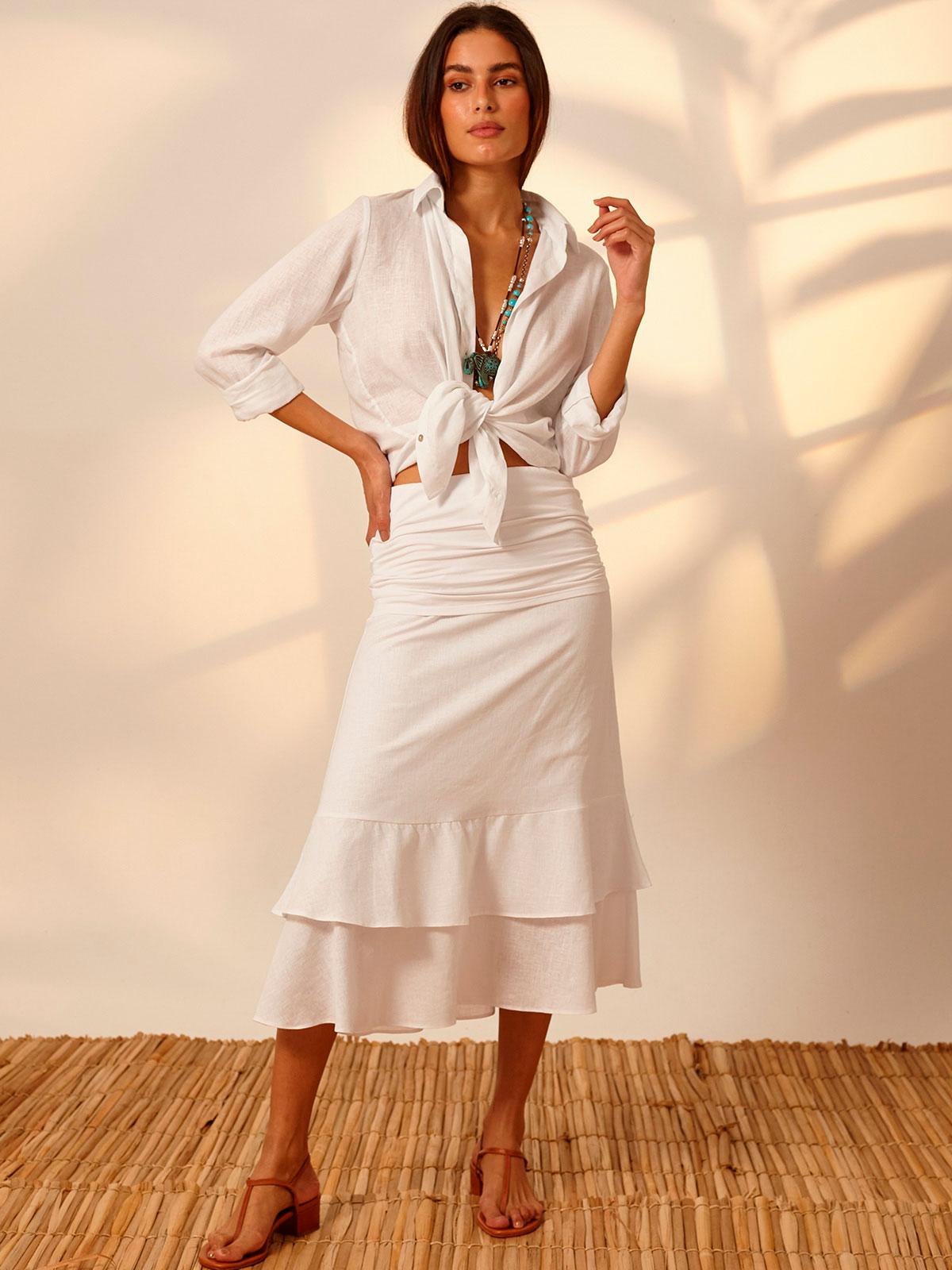 Camisa Linho Botões Branco
