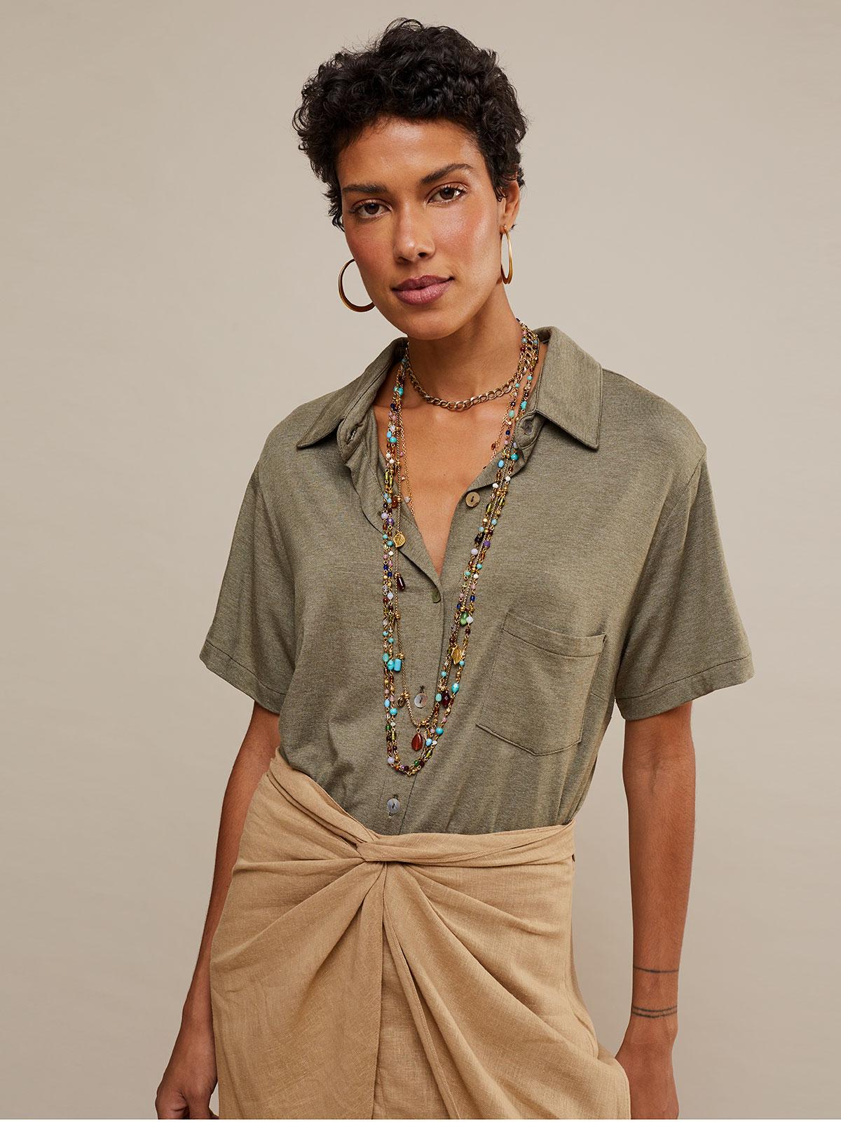 Camisa Malha 1 Bolso Manga Curta