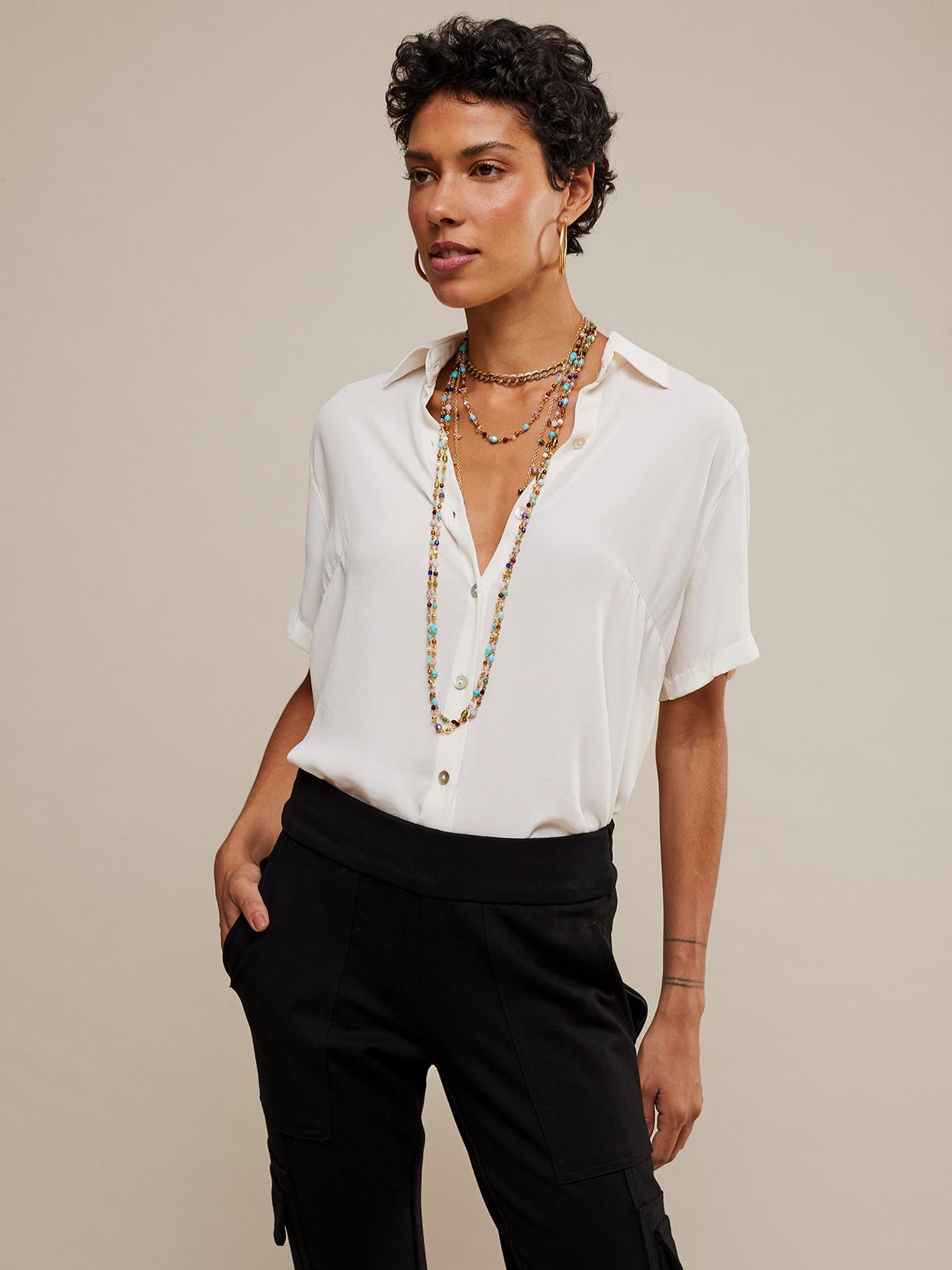 Camisa Manga Curta Botões Marfim