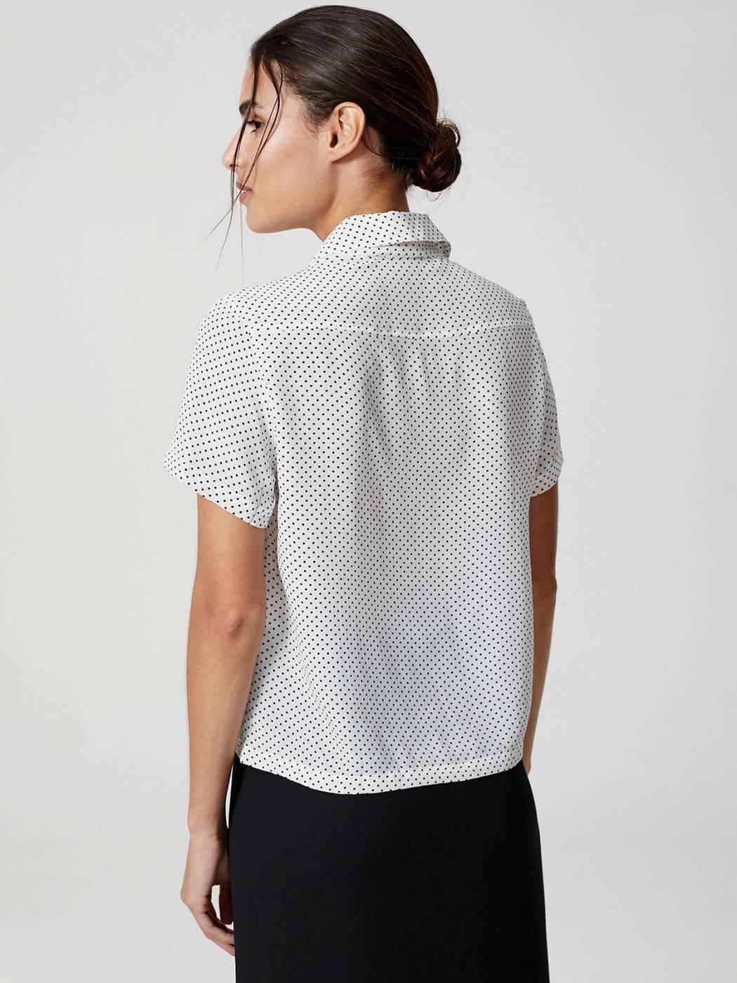 Camisa Manga Curta Seda Poa