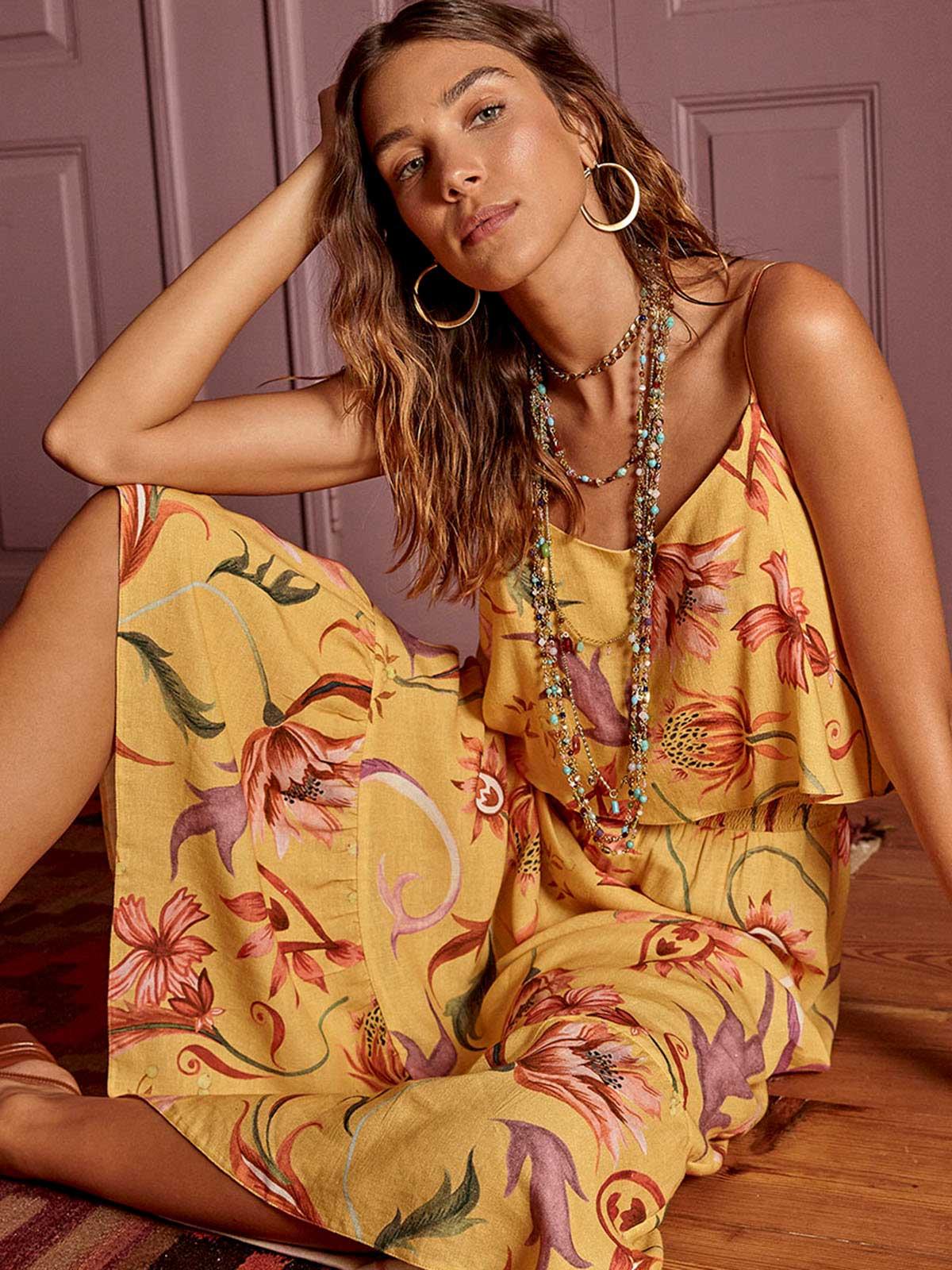 Vestido Linho Alcinha Babado Granada