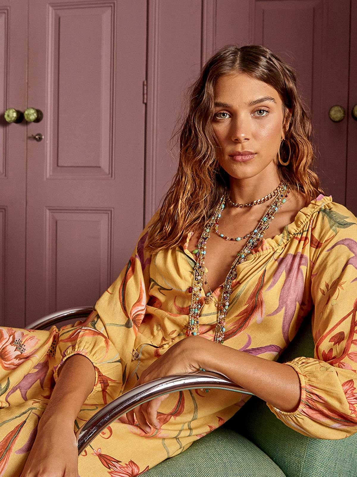 Vestido Linho Cigana Botões Granada