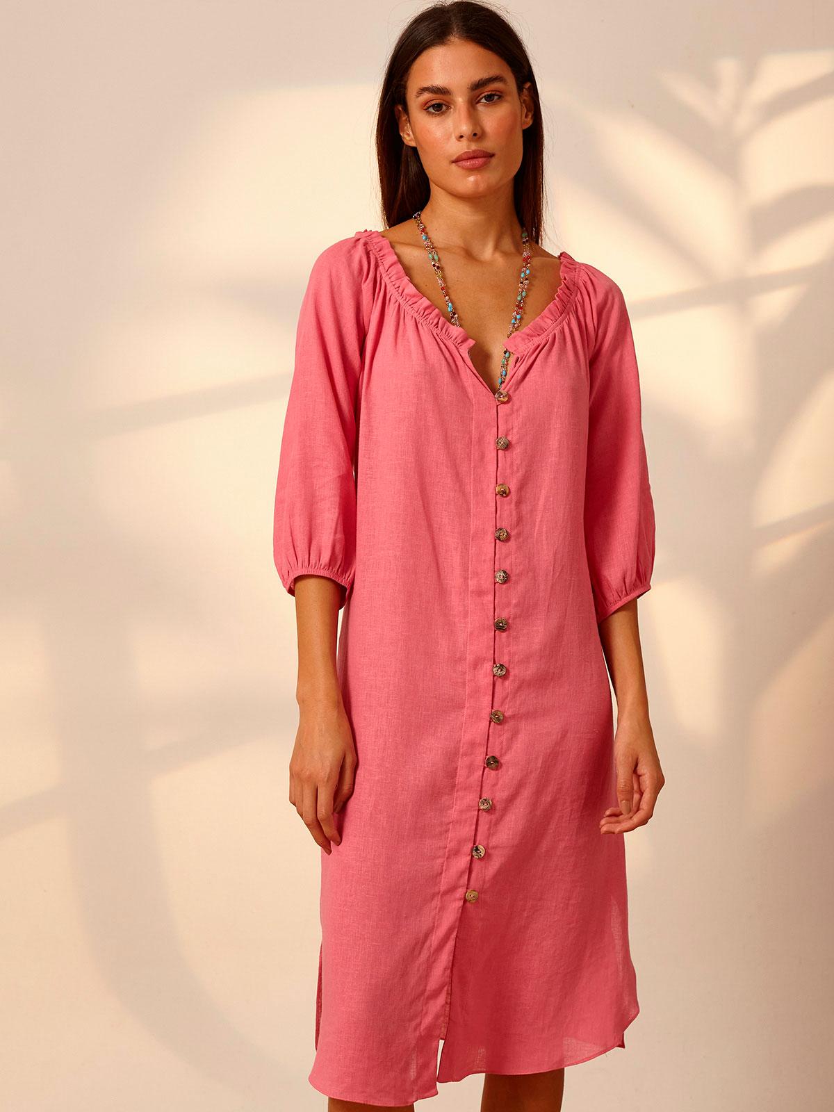 Vestido Linho Ciganinha Botões Rosa