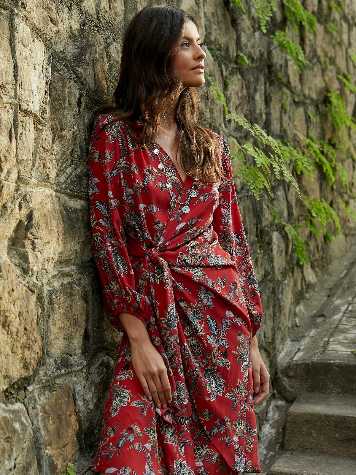 Vestido Seda Cache Coeur