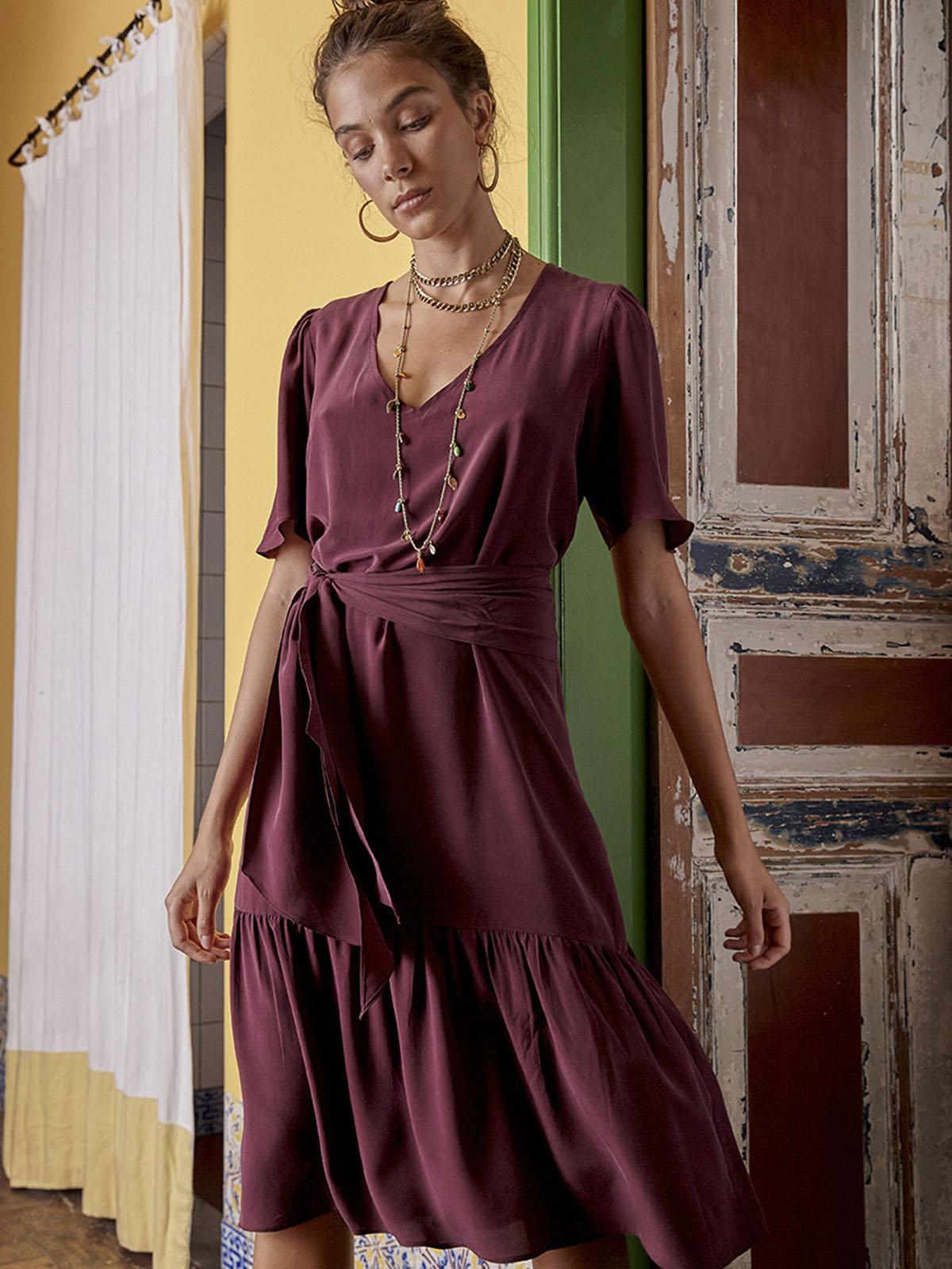 Vestido Seda Faixa