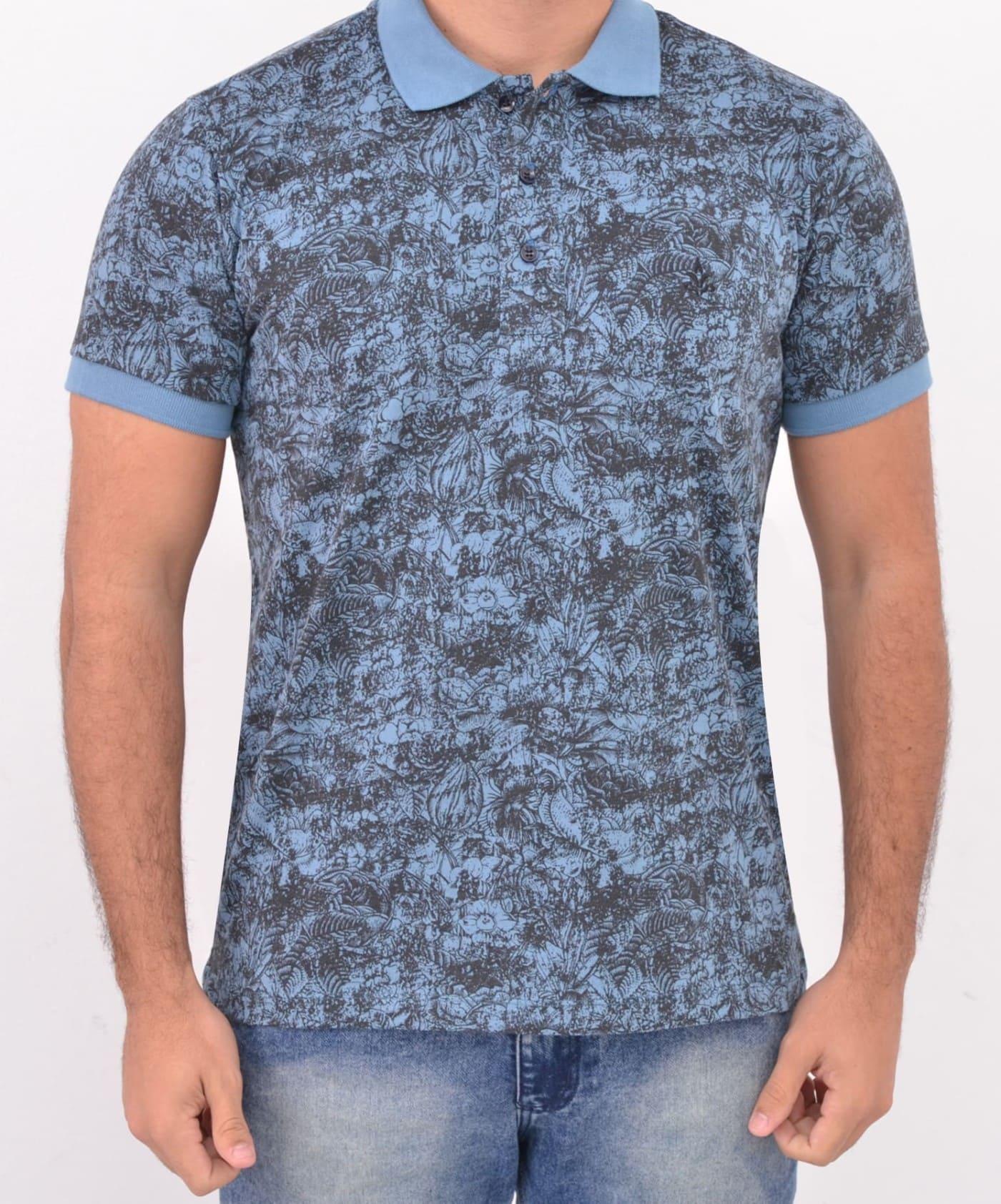 Camisa Barrocco Pólo Flores Azul - FRETE GRÁTIS