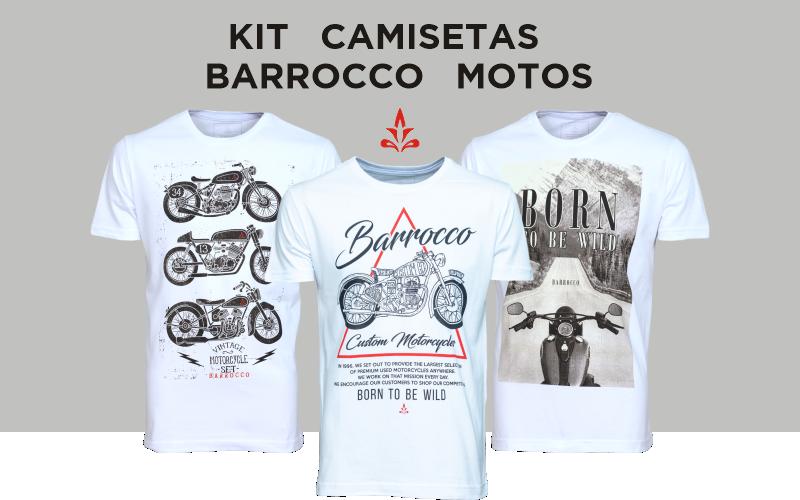 Kit Camisetas Barrocco Motos - 3 Camisetas Cor Branca/ Tamanho G