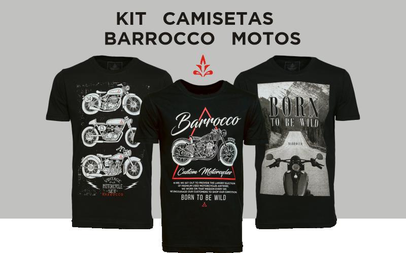 Kit Camisetas Barrocco Motos - 3 Camisetas Cor Preta/ Tamanho G
