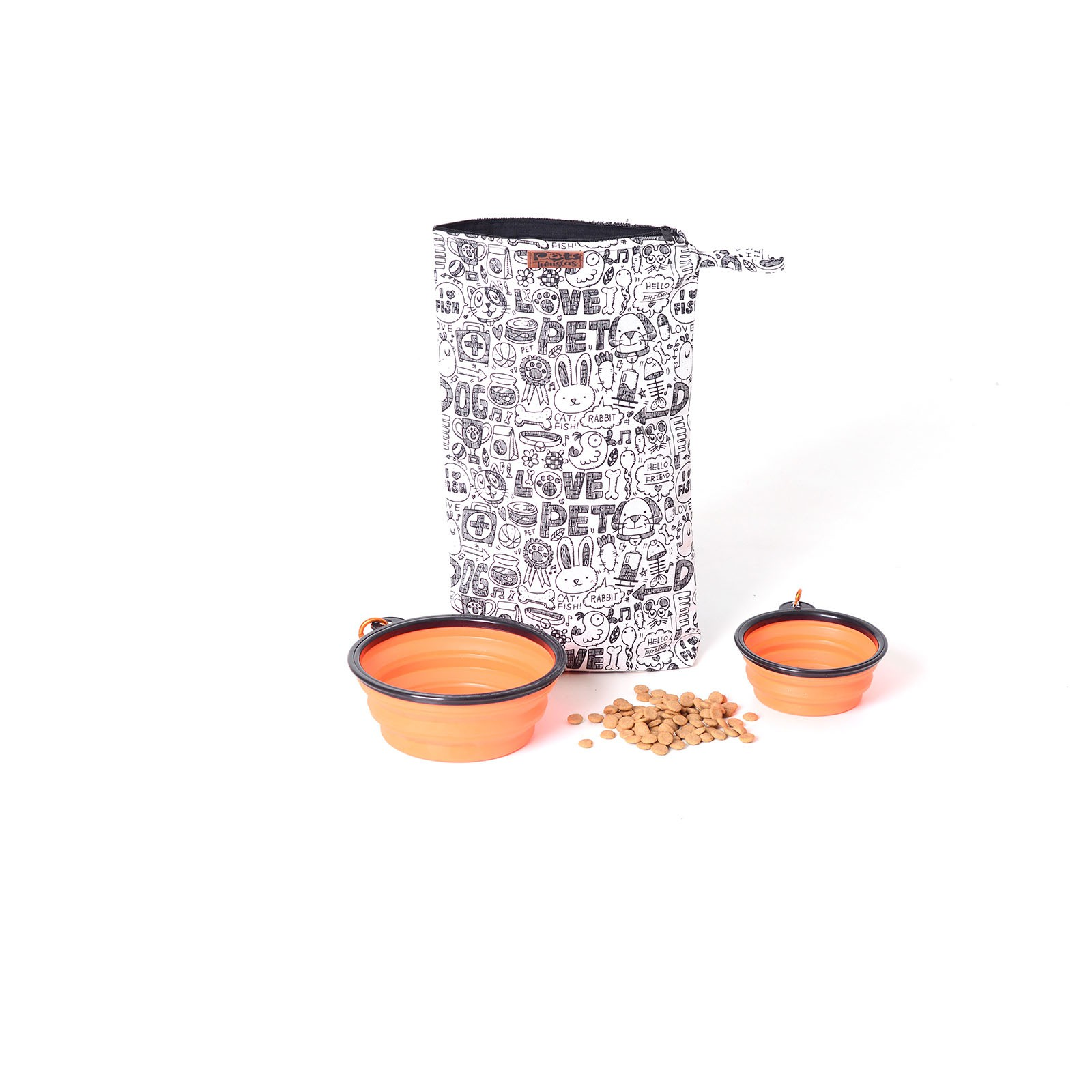 Kit Porta Ração Portátil e 2 Potes de silicone P e G - Nova York