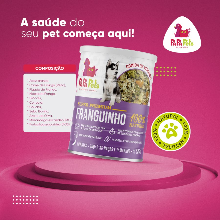 Papa Pets Franguinho - Alimentação Natural - Cães Filhotes