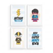 Kit 4 Quadros Super Heróis com Nome