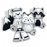 Kit de Almofadas Animais da Floresta - Preto e Branco