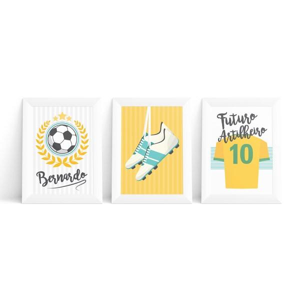 Kit 3 Quadros Futebol com Nome