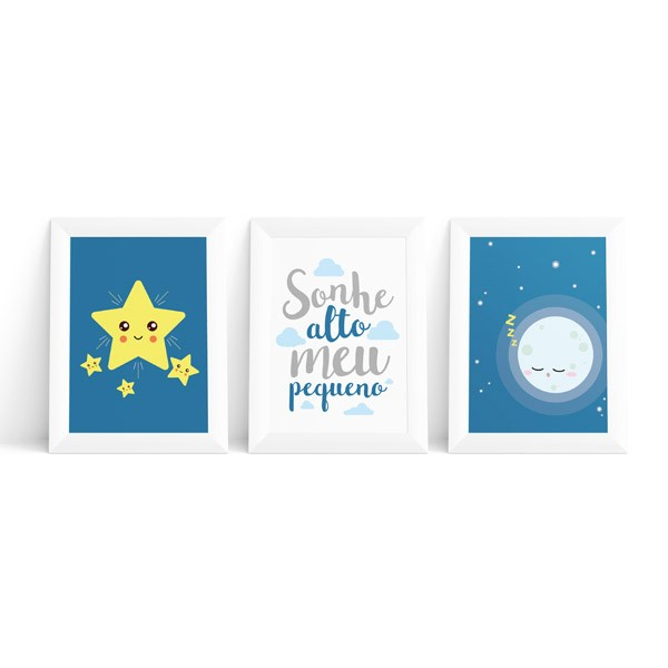 Kit 3 Quadros Lua e Estrelas Masculino