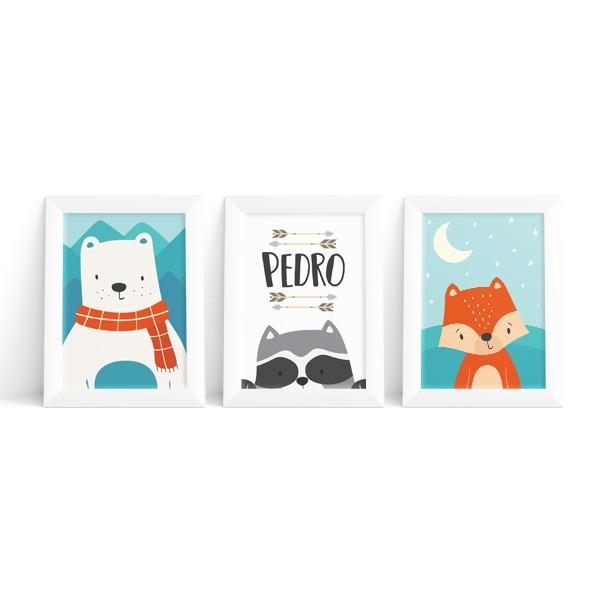 Kit 3 Quadros Urso, Raposa e Guaxinim