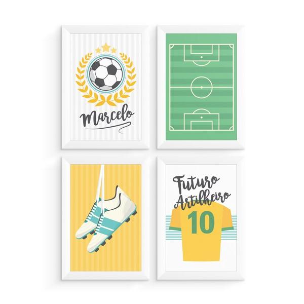Kit 4 Quadros Futebol com Nome