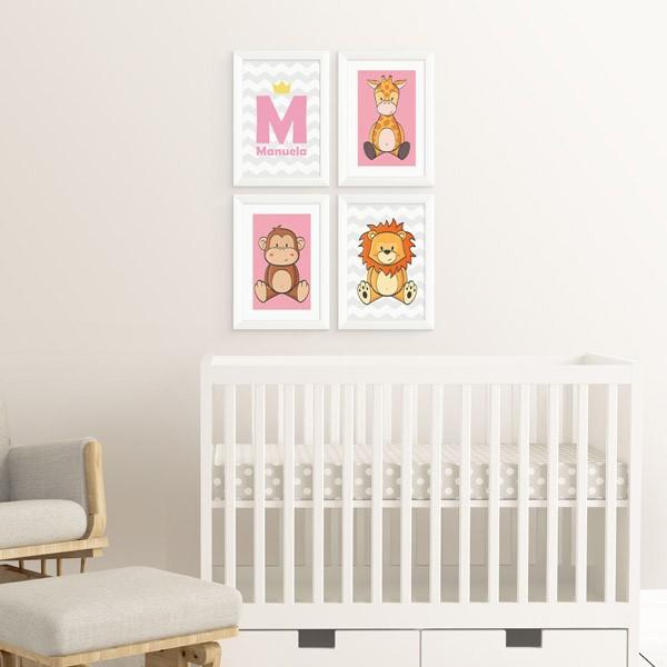Kit 4 Quadros Safari Baby e Inicial com Nome Feminino