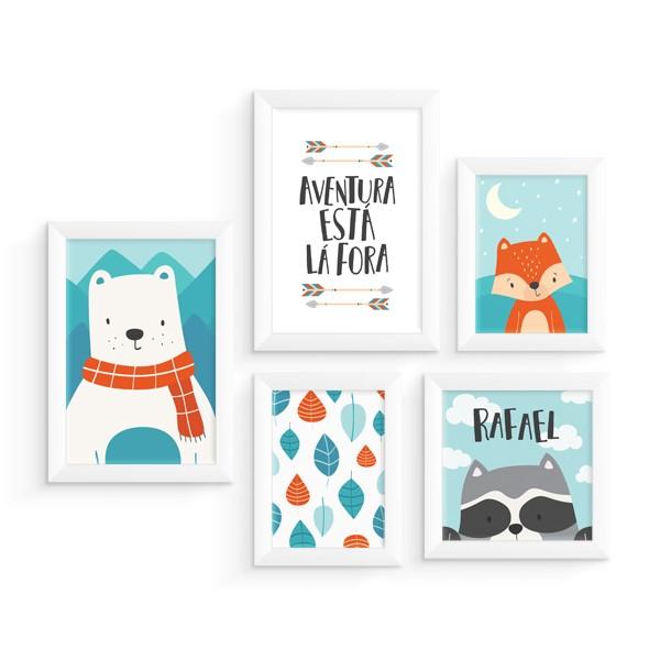 Kit 5 Quadros Urso, Raposa e Guaxinim