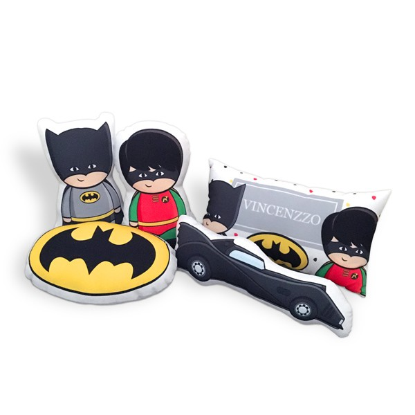Kit de Almofadas Fantasia de Batman e Robin com Nome
