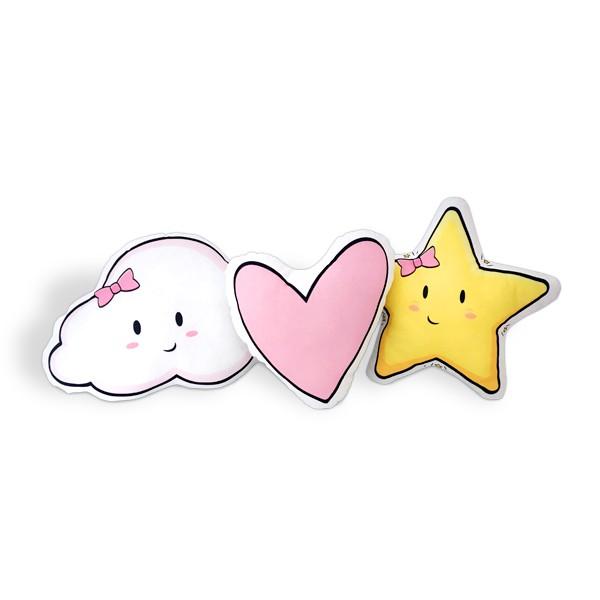 Kit de Almofadas Nuvem, Estrela e Coração